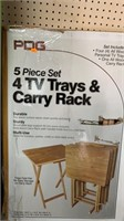 PDG 5 piece set 4 TV TRAYS & carry rack