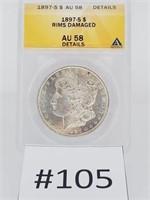 1897-S Morgan Dollar AU 58 Rims Damaged
