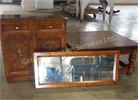 Coffee Table, Mirror and Storage Cabinet