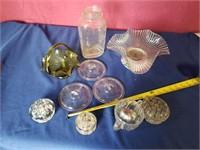 Glass tray lot w/ froggs