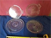 4 clear serving platters