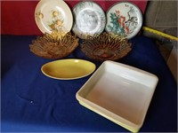 fire king  platters  bowls
