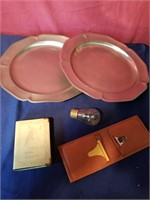5pewter platters walet  baby bank ect