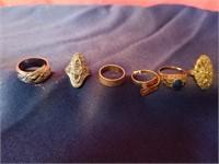 6 sterling silver rings