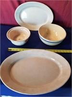 ironstone platter   plus bowls