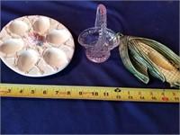basket    corn  egg plate