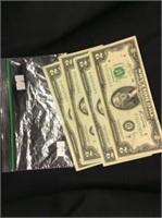 4 Two Dollar Bills
