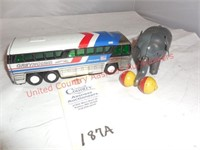 Greyhound Bus & Tin Mechanical Elephant
