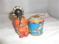Vintage Tin WInd Up Indian Chief & Noise Maker