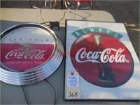 """Coca-Cola Clock Elec. & 18"""" x 24"""" Sign"""