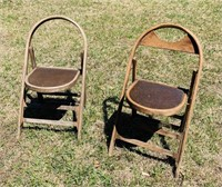 2 Folding Wooden Chairs, 1 is missing back piece
