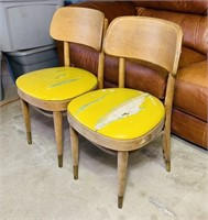 Vintage Bent Wood Chairs, Brass Caps on Legs,