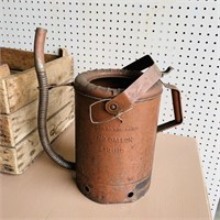 Wood Crate and 2 Gallon Oil Filler Can