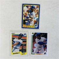 (3) Ken Griffey Jr Baseball Cards