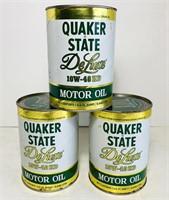 (3) Quaker State DeLuxe 1 qt FULL Motor Oil, 1981