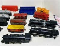 Lot of Train Engines and Cars, Metal and Plastic