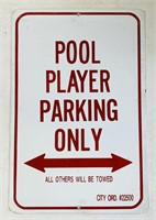 NOS Sealed Pool Player Parking Metal Sign