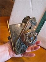 Antique Russwin Door Lock Set Brass Knobs &