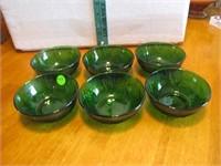6 Vtg Oatmeal Glass Forest Green Dessert Bowls