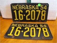 Pair 1954 Nebraska License Plate Set 16-2078