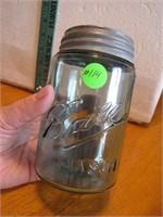 Antique Ball Mason Pint Aqua Jar with lid (2 Base)