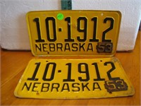 Pair 1952 Nebraska License Plates with 1953 Date