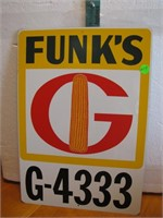 "Vtg Metal Funk's G-4333 Sign 16"" X 11&1/4"""
