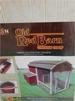 Red barn chicken house. It may be missing some