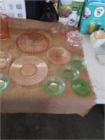 22 pieces pink and green depression glass