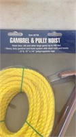 """Gambrel and pulley houst, 2 slings 2""""."""