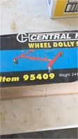 Central hydraulics wheel dolly stand holder.