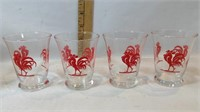 Rooster Glasses, Juice Glasses, Tall Frosted