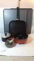Bake Ware Pans, Vintage Tray, Aluminum Scoop