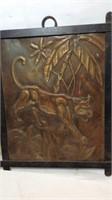 Vintage Hammered Copper Mountain Lion Art