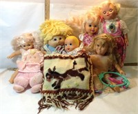 Tote of Dolls & Knit Bag with Doll Clothes