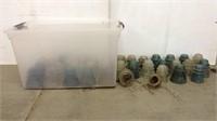 Blue & Clear Glass Insulators
