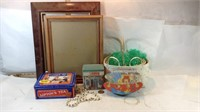Picture Frames, Tins, Baskets, Shell Necklace &