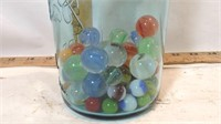 Wire Bale Jar with Marbles