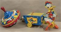 Fisher Price Donald Duck & Ohio tin top