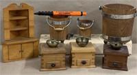 3 mini coffee grinders, 3 mini buckets