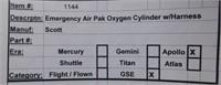 Nasa Apollo EmergencySKA PAK  Air Pack In Case