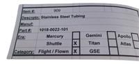 Flown Nasa Space Shuttle Stainless Steel Tubing
