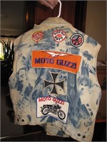 Vtg Lee Sanforized Vest with Motorcycle Patches