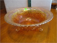 "Vintage Carnival Glass Footed Bowl 11"" x 4&1/4"""