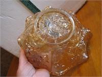 """Vtg Carnival Glass Flowers Bowl 9"""" x 3&1/2"""""""
