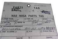 Nasa NAA MASTER PARTS TAG Oct 13th 1965