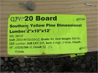 """Southern Yellow Pine 2""""x10""""x12'"""