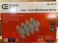 Set of 4 Recessed White trim LED lights