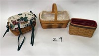 3 Longaberger Baskets with Inserts