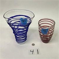 2 Swirl Vases